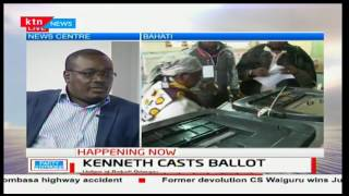Nairobi gubernatorial Aspirant Peter Kenneth makes his way to Bahati to cast his vote