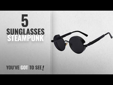 Top 10 Sunglasses Steampunk [ Winter 2018 ]: Steampunk Retro Gothic Vintage Hippie Matte Black Metal