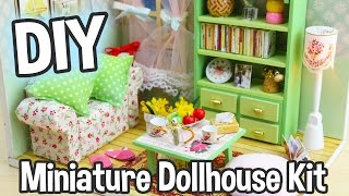 DIY Miniature Dollhouse Kit Cute Room With Working Lights!  Family Hall Roombox