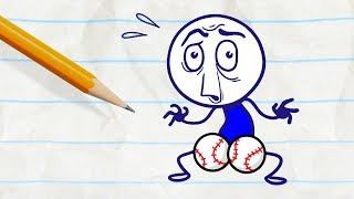 Pencilmate's Got Balls! -in- BALL AND STRAIN - Pencilmation Cartoons for Kids