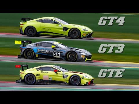 Aston Martin Vantage AMR GTE vs GT3 vs GT4 - sound comparison