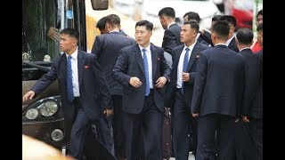 米朝首脳会談・厳重警備の金正恩氏ホテル周辺
