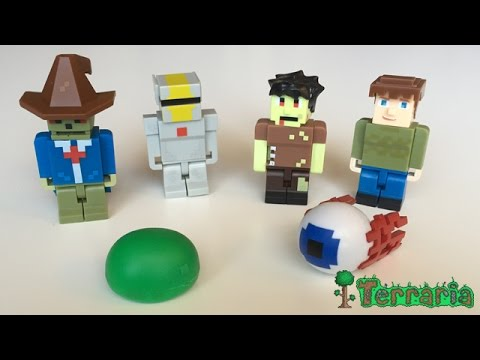 Terraria World Collectors Pack - UNXBOXING (Green Slime, Demon Eye, Guide, Zombie, Silver Armor)