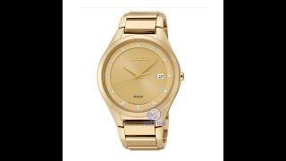 Видео обзор наручных часов Seiko Solar Gold Tone SNE384