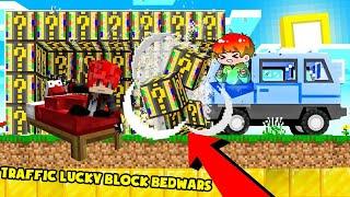 MINI GAME : TRAFFIC LUCKY BLOCK BEDWARS ** NOOB CẦM SIÊU XE ĐI CHIẾN ĐẤU VÀ BẢO VỆ GIƯỜNG ??