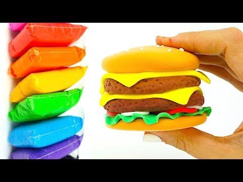 Лепим из пластилина Бургер, развивающее видео для детей видео