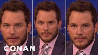 "Chris Pratt's Three Faces Of ""Jurassic World"" Acting  - CONAN on TBS   Kholo.pk"
