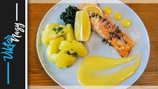 Ako pripraviť pečeného lososa s holandskou omáčkou, zemiakmi a baby špenátom   Viktor Nagy   recepty