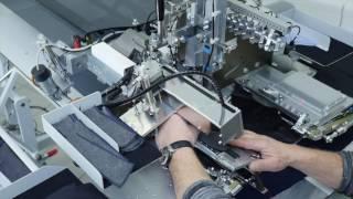 Швейный автомат с автоматическим загрузочным и подающим устройством для обтачки прорезных карманов «в рамку» и «в листочку» с клапаном или без клапана, наклонных и прямых BASS 3504 T/J ASS (премиум версия) video