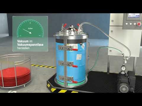 Diese Animation zeigt die manuelle Fassabfüllung mit der Maschine TAVA 200 F.   Das Vakuum im Spannfass ermöglicht ein Vakuum im Gebinde zu erzeugen und so verschiedenste Materialien - vor allem hochviskose Stoffe - blasenfrei (ohne Lufteinschlüsse) abzufüllen.  Die TAVA kann für viele Fassgrößen angefertigt werden. Für weitere Informationen schreiben Sie uns eine Mail an info@tartler.com