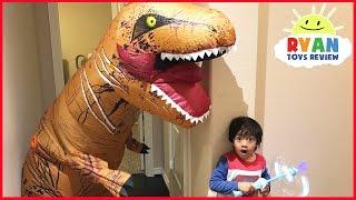 Giant Life Size Dinosaur attacks Ryan Bad Magic Toys transformation Pretend Play Superhero Kid