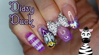 Encapsulated Daisy Duck Acrylic Nail Art Tutorial | DIY Decals | MelodyMinutes