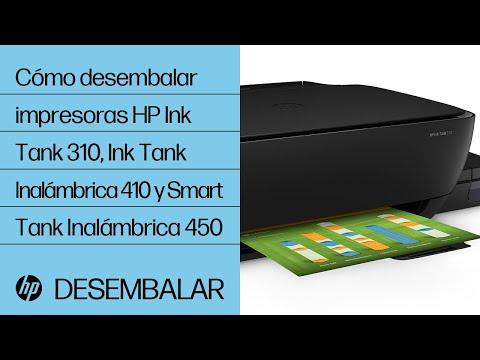 Cómo desembalar las impresoras HP de las series Ink Tank 310, Ink Tank Inalámbrica 410 y Smart Tank Inalámbrica 450