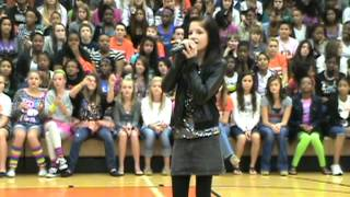 Me singing someone like you at school pep rally
