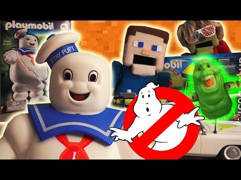 Ghostbusters vs SLIMER STAY PUFT Marshmallow man PLAYMOBIL playset Toy Unboxing Minecraft