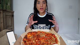 Speed Eating DOMINOS PIZZA Vs  NOTORIOUS BOB | Girl Vs food | Speed eating |