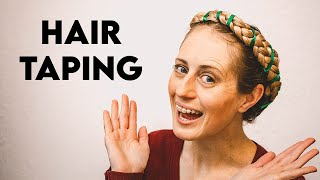 HAIR TAPING TUTORIAL | Fantasy Renaissance And Medieval Hair Braiding Style