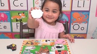 Farm Animals Wooden Puzzle | Learning Barnyard Animals Names and Playtime