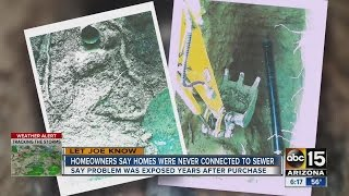 Homeowners say homes were never connected to a sewer
