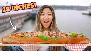 I Challenged A Competitive Eater To Finish A 28-Inch Lobster Roll • Giant Food Time