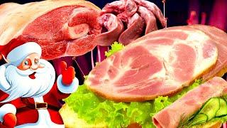 Ветчина на новый год, из рульки со свиным языком.