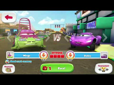 Disney PIXAR CARS Holley Shiftwell Vs Lightning McQueen & Wingo Track Racing Game