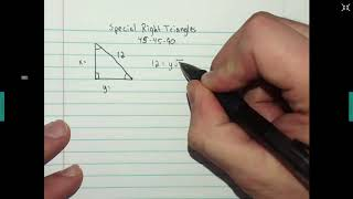 Special Right Triangles - Finding A Leg Given A Whole Number  Hypotenuse
