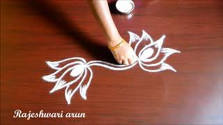beautiful simple lotus kolam designs without dots - easy rangoli designs - small chukkala muggulu
