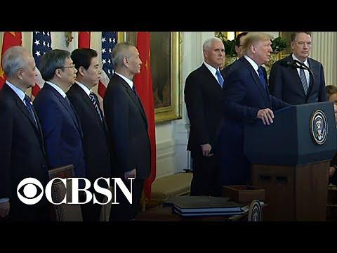 Trump speaks before signing