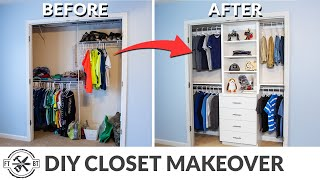 DIY Closet Organization with Shelving and Drawers
