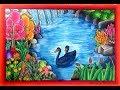 Cara gradasi warna oil pastel Tema Pemandangan alam dan air terjun yang cantik