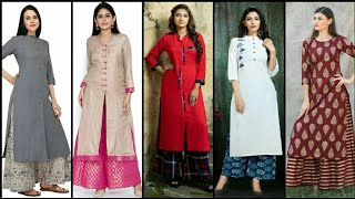 Stunning And Elegant Trendy Plazo With Stylish Long Kurti Dress Design Collection