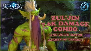 Grubby | Heroes of the Storm | Zul'jin 7.6K Damage Combo & Quick Match - Garden of Terror