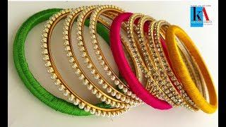 How to make Designer thin bangles || Thin Bangle set making without silk thread