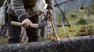 Bushcraft trip - natural shelter, drying meat, no sleeping bag, all night fire, homemade axe etc.