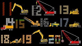 Construction Vehicles Counting 11 to 20 -  Count with Trucks - The Kids' Picture Show