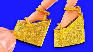 25 DIY Miniature Hacks And Crafts For Barbie! High Heel Golden Shoes