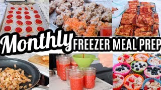 EASY MONTHLY FREEZER MEAL PREP | LARGE FAMILY MEALS | All Day Cook With Me