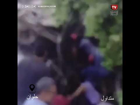 المشاهد الأولى لحادث اصطدام قطار بأتوبيس عمال في حلوان