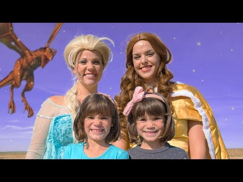Frozen ELSA and BELLE in Fairy Tale Land! Twins Defeat the DRAGON!! | Magic Play Time