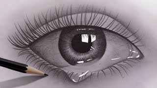 How to draw realistic eyes for beginners with pencil   Pencil Sketch Video   Easy to draw