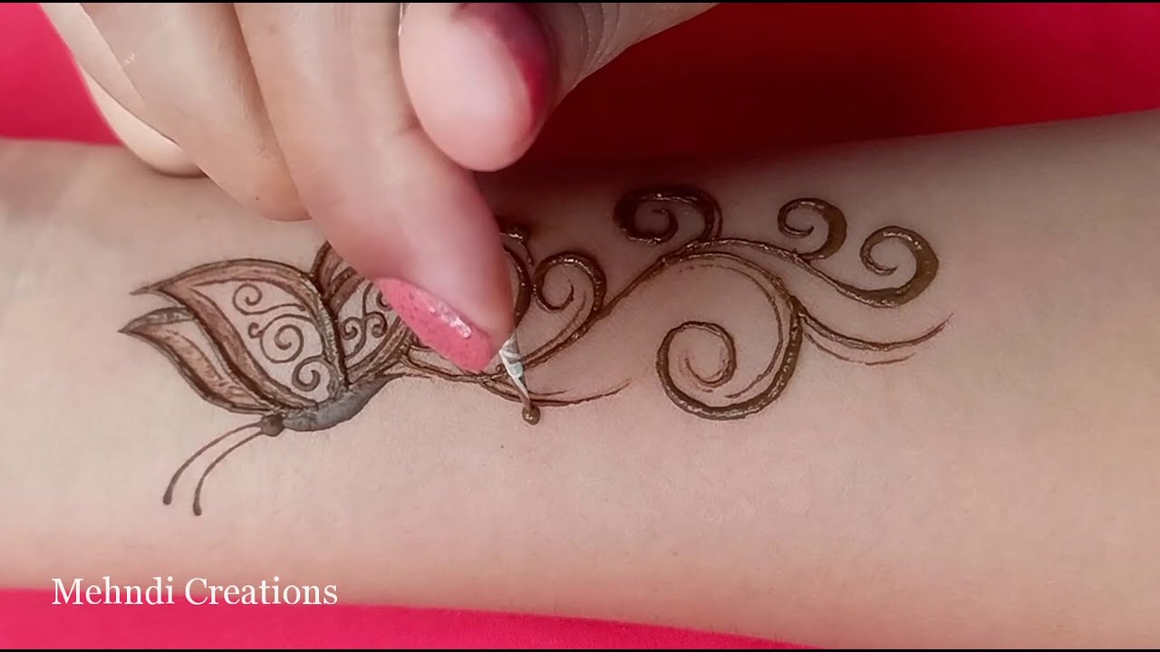 how to draw butterfly tattoo mehndi design by mehndi creations