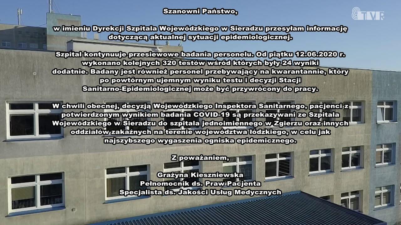 Oświadczenie Szpitala Wojewódzkiego w Sieradzu – 17.06.2020