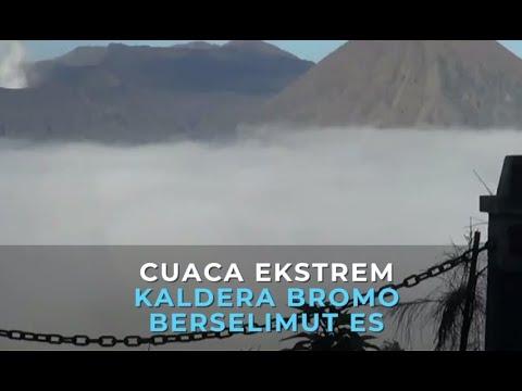 Cuaca Ekstrem  Kaldera Bromo Berselimut Es