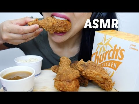 ASMR Church's Spicy Fried Chicken + Gravy (CRUNCHY EATING SOUNDS) NO TALKING | SAS-ASMR