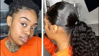 FRONTAL PONYTAIL! (W Natural Hair Left Out)