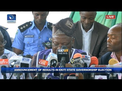 INEC Declares Kayode Fayemi Winner Of Ekiti Governorship Election Pt 2