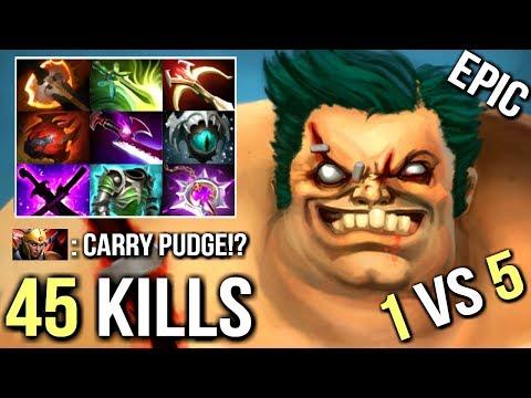 45 Kills 1vs5 Battle Fury Pudge Carry 12 Min Godlike Most Epic Hook Max Range 99% Dota 2