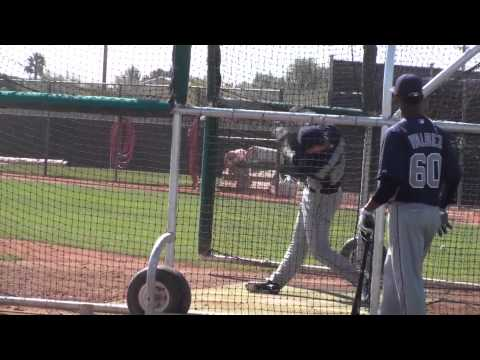 , title : 'Cory Spangenberg takes batting practice'