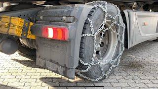 LKW Gleitschutzketten (Schneeketten) montieren an Antriebsachse (Cortina) Mercedes Benz Actros MP4